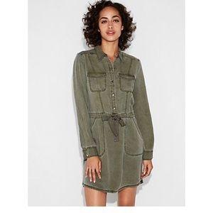 Express Long Sleeve Utility Shirt Dress (green)